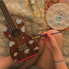 Ukulele Art, Music Guitar, Ukulele Songs, Ukelele Painted, Ukulele Design, Guitar Painting, Aesthetic Painting, Aesthetic Images, Art Hoe