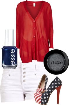 """""""4th of july outfit"""" by creataura on Polyvore. Yes! Except this heels need to be boat shoes!"""