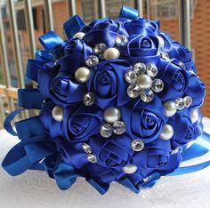 2015 New Accept Custom Handmade Sapphire Blue Ribbon Bouquet Decorative Silk Rose flower Bride Bridal Crystal Wedding Bouquets