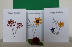 Pressed wild flower cards Set of 3 Happy by TheOwlTreeIreland Flower Birthday Cards, Happy Birthday Cards, Flower Cards, Irish Symbols, Colored Envelopes, Connemara, Wild Flowers, Create, Projects