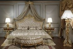 Baroque bed with golden carvings and capitonné headboard, roman baroque style of the seventeenth century night tables, curved bench and baroque style floor and table lamps. All for the baroque bedroom collections art. Classic Furniture, Luxury Furniture, Bedroom Furniture, Bedroom Decor, French Furniture, Cheap Furniture, Luxury Interior, Interior Design, Baroque Bedroom