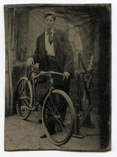 Young Victorian Man with Bicycle, Vintage, Antique Tintype Photo    eBay ~~Hardly a child, and the bicycle was probably not a toy, but I still felt this was the best category. Good, unusual photo for the period. Love it!