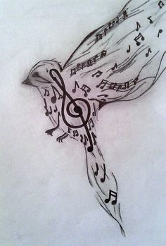 The bird has been created with the advent of musical inspiration.