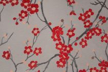 2 7 Yards Cherry Tree Chenille Upholstery Fabric In Scarlet Dove Fl Drapery