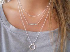 Organic Circle Long Necklace. Layering Silver Necklace. Sterling Silver Necklace. Ring Necklace