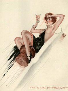 Illustration by Georges Leonnec For La Vie Parisienne 1920s    http://www.pinterest.com/adisavoiaditrev/