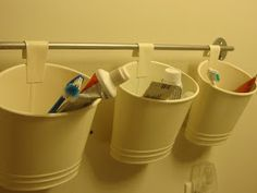 Buckets for each kids bathroom stuff