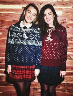 fair isle sweater and tartan skirt