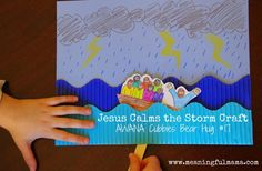 6/7/15 Jesus Calms the Storm Craft - AWANA Cubbies Bear Hug #17 - A series by Meaningful Mama