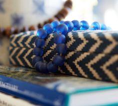 Blue Glass Beads Vase Filler