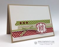 """Stamp Set: Very Merry Tags Paper: Season of Style DSP, Crumb Cake, Whisper White Ink: VersaMark Pad Cool Tools: Artisan Label Punch The Perfect Touch: Season of Style Designer Washi Tape, Regals Candy Dots, Old Olive 1/8"""" Taffeta Ribbon, Cherry Cobbler Stampin' Emboss Powder"""