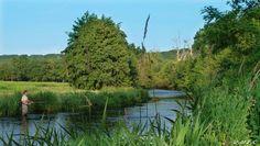 Pécheur dans la rivière l'Avre près de Dreux.