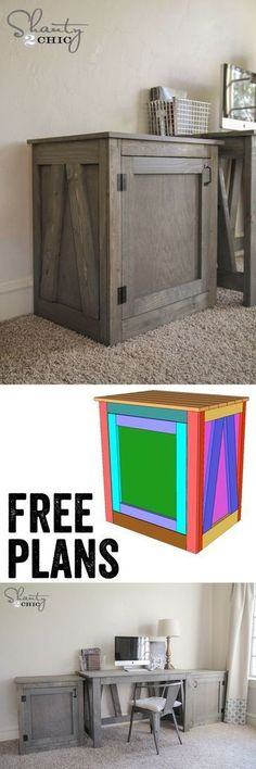 Free Woodworking Plans – DIY Desk Table and Nightstand – Great hidden storage! Free Woodworking Plans – DIY Desk Table and Nightstand – Great hidden storage! Woodworking Projects Diy, Diy Wood Projects, Furniture Projects, Home Projects, Diy Furniture, Woodworking Plans, Woodworking Furniture, Popular Woodworking, Woodworking Nightstand