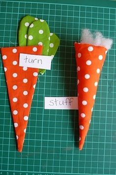 carrots- love the fabric patterns! great for soft toys or decorations