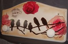 Hat or coat rack with decoupage flowers and birds on branches