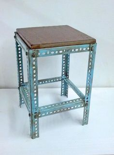 Metal Table Blue Paint Steel Table Plant Stand Pedestal Industrial Steampunk End Table Refurbished T7