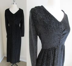 70s Home Tailored Black Sparkle Dress, Empire Waist Runched Bodice Maxi Sz L #Handmade #Maxi #Clubwear