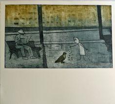 Grabado de Ana Valenciano disponible en la galería online de FLECHA, precio 200€.  Mas info: http://www.flecha.es/Comprar-obras-de-Ana-Valenciano/Grabado-Come-gorrión,-le-dijo-a-la-paloma/671/