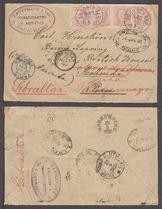 Sweden 1890 (20 May). Sweden - Peru - Gibraltar. Multifkd env 10 ore rose strip of four (one stamp damaged at travel). Ambulant cancel / Angbats PxP / n? 87 / in Peru vert all around ports incl Mollendo, Lobos and Pacasmayo, finally to Gibraltar c/o British Consul / Dannish ship. Exceptional doble transatlantic postal history item.    Dealer  Antonio M. Torres    Auction  Minimum Bid:  530.00US$
