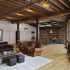 Sensational industrial loft in TriBeCa. Some day I want to try loft living! Right now I have a 588 sq. loft in my log home that we practically live in. But not quite the same as an industrial loft! Loft Estilo Industrial, Industrial Basement, Rustic Basement, Industrial Interior Design, Industrial Interiors, Rustic Loft, Industrial Style, Modern Basement, Industrial Living