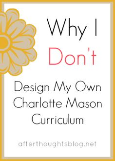 Why I Don't Design My Own CM Curriculum: the answer might surprise you.