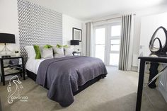 Master, Double Bedroom, 4 bedroom show home, New Home, Lime green and black and grey décor