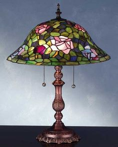 Rose Bush Tiffany Stained Glass Table Lamp