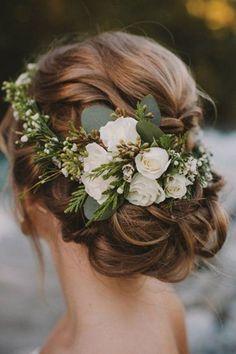 updo wedding hairstyle ideas with greenery flower crown #weddingflowers