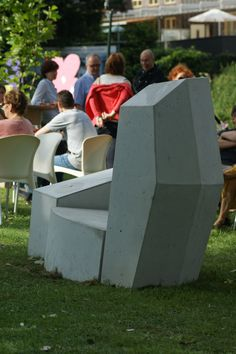 Hand Shaped Concrete Bench / Chair (love Seat), During Exposition At  Slokdarmfestival 2013