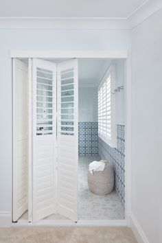 Luxaflex PolySatin® Shutters are the modern alternative to traditional wooden shutters and combines timeless gradeur with practical and durable design. Narrow Bathroom, Bathroom Windows, Bathroom Renos, Bathroom Renovations, Bathroom Ideas, Shutter Designs, Three Birds Renovations, Dark House, Wooden Shutters