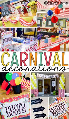 Preschool Oriental Trading has great carnival decorations for your next school carnival. Create a fun school carnival and get some free carnival signs - Preschool Children Activities Carnival Signs, Carnival Decorations, Diy Carnival, Carnival Themed Party, Spring Carnival, Carnival Birthday Parties, Circus Birthday, Circus Party, Circus Theme