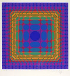 """Victor Vasarely (Hungarian, 1908 - 1997). """"Koska-Sin"""". Color lithograph. 1975. Signed and numbered in pencil. Edition of 125. Full margins. Fine impression. Fine condition. Published by Les Editions GK, Fribourg. Overall size: 17 1/2 x 16 3/8 in. (444 x 416 mm). Image size: 11 13/16 x 11 13/16 in."""