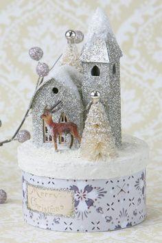 silver glitter house