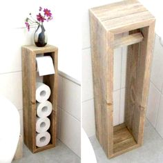 45 DIY Toilet Paper Holder and Storage Ideas 45 DIY Toilet Paper Holder and Storage Ideas Diy Toilet Paper Holder, Toilet Paper Storage, Diy Pallet Projects, Wood Projects, Diy Room Decor, Diy Furniture, Woodworking Projects, House Design, Storage Ideas