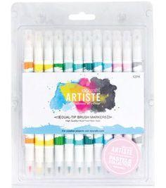 Artiste Dual Tip Brush Markers 12/Pkg-Pastel