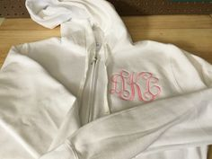 Monogrammed bridesmaid hoodies, gifts for bridesmaid embroidered personalized Monogram Hoodie, Monogram Initials, Teacher Appreciation Gifts, Teacher Gifts, Teacher Tote Bags, Full Zip Hoodie, My Bags, Bridesmaid Gifts, Personalized Gifts
