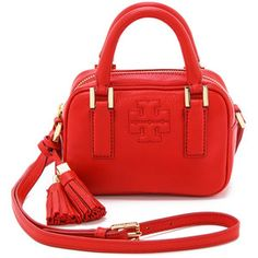 Tory Burch Shoulder Bags Red Leather Tevin Large Satchel - S ...