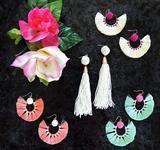 Havana Sweetheart Fringe Hoop Earrings- Mint+Pink