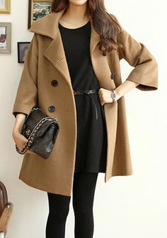 Camel Pea Coat - Boxy Fit Pea Coat