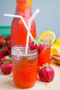 Strawberry Basil Lemonade- perfect idea for our strawberry potluck