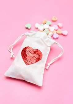 Whip up these sequin heart treat bags for your Valentine in under 5 minutes!