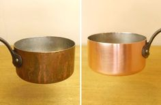 How to clean tarnished copper. Great for pots and pans. Make them look like new again in no time at all. Just use household supplies to make your copper pans. Diy Cleaning Products, Cleaning Hacks, Household Products, Bad Hacks, Copper Cooking Pan, Casseroles, Copper Cleaner, How To Clean Copper, Clean Pots
