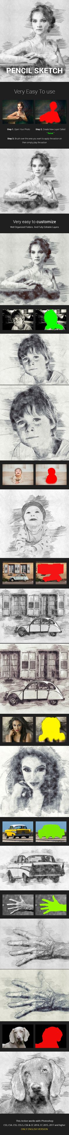 Pencil Sketch Photoshop Action Photo Effects - Photo Effects Actions