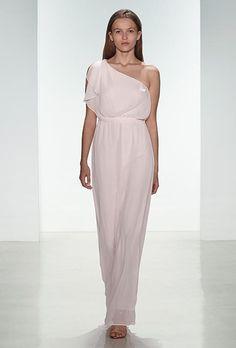 A draped one-shoulder chiffon bridesmaid dress with elasticized waist and tie sash | @AmsaleMaids | Brides.com