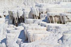 Hanging limestone wall. Pamukkale.<br /> Denizli province. Anatolia. Turkey.