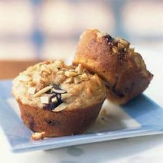 """We call these """"power"""" muffins because they're loaded with B vitamins from whole wheat flour, calcium from milk and yogurt, antioxidants from blueberries, and heart-friendly monounsaturated fat from almonds and canola oil. You can freeze the muffins for up to a month, then thaw them at room temperature, or microwave each muffin at HIGH 15 to 20 seconds."""