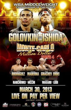 LIVESTREAM: Golovkin vs Ishida, Rabchenko vs Nicchi http://www.boxingguru.eu/ Sat 30th Mar: 7.00pm UK, 8.00pm CET, 3.00pm EST WBA World middleweight title Gennady Golovkin vs Nobuhiro Ishida EBU (E...