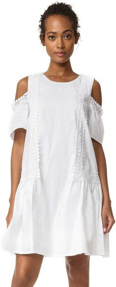 Shopbop - A crisp cotton Moon River dress, detailed with cutout shoulders and delicate lace trim. The drop-waist profile flares through the skirt. Short sleeves. Button back keyhole. Lined. - (affiliate link)