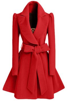 Turn-Down Collar Long Sleeve Red Bow Belt Coat Dress