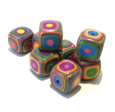 Square Handmade Beads - Polymer Clay - Klimt Pattern - Bright Summer Colors by BarbiesBest on Etsy